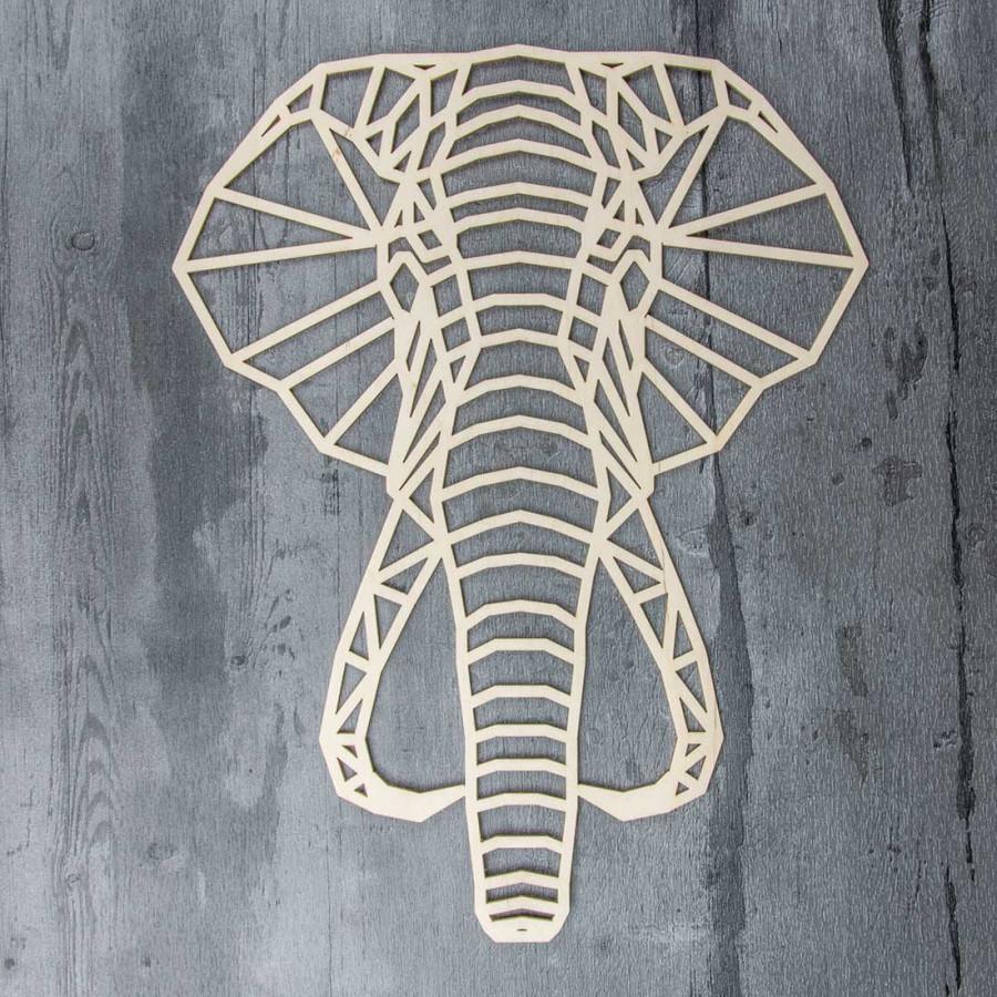 d coration murale en bois l phant origami. Black Bedroom Furniture Sets. Home Design Ideas